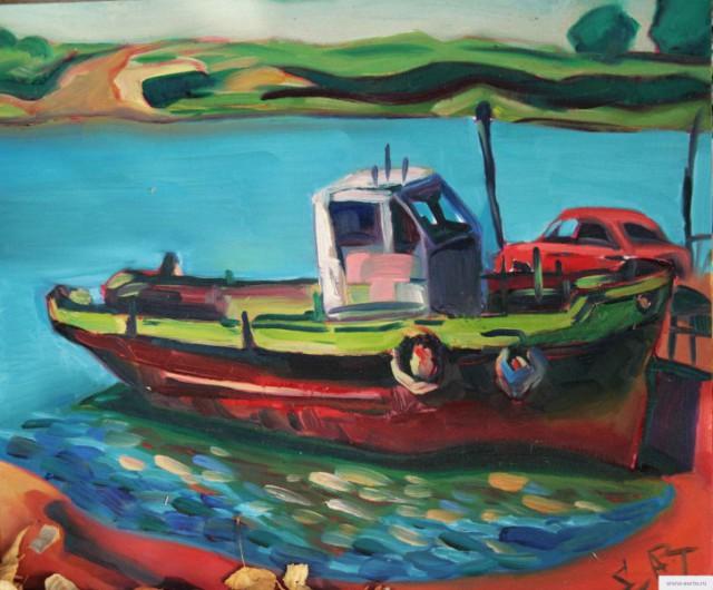 """""""Barkas"""" painting picture / photo Баркас холст на картоне\масло 50\60 Астрахань д. Пироговка earta.ru"""