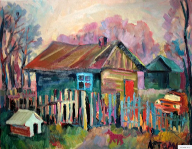 """""""Old Barn and orange Cossack"""" painting drawing / photoстарый сарай холст/масло"""