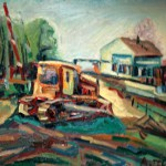 """Tractor"" painting picture / photoТрактор холст/масло переезд в Криулино"