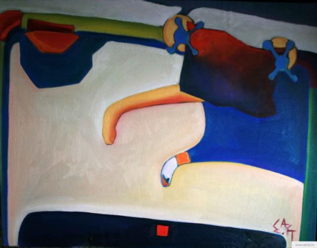 """Картина маслом на холсте """"Убегающий кот абстрактный"""" живопись,сюрреализм earta.ru"""
