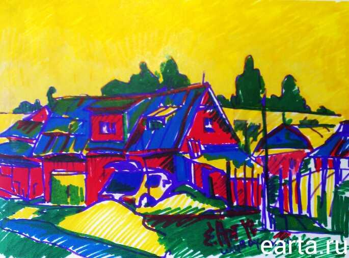 EARTA.ru Картины Наброски Зарисовки пейзаж-в-поселке Зарисовки в частном секторе города Электросталь Uncategorized