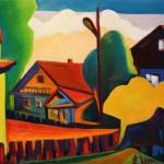 """""""Landscape of Childhood"""" painting picture / photo пейзаж из Детства оргалит/масло пос.Горный"""