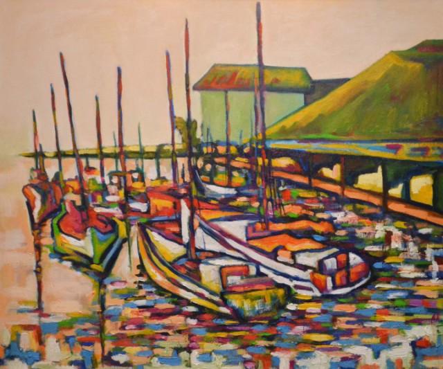 "Картина пейзаж ""Лодки"""