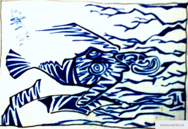 Абстракция с ухом рисунок бумага/линер