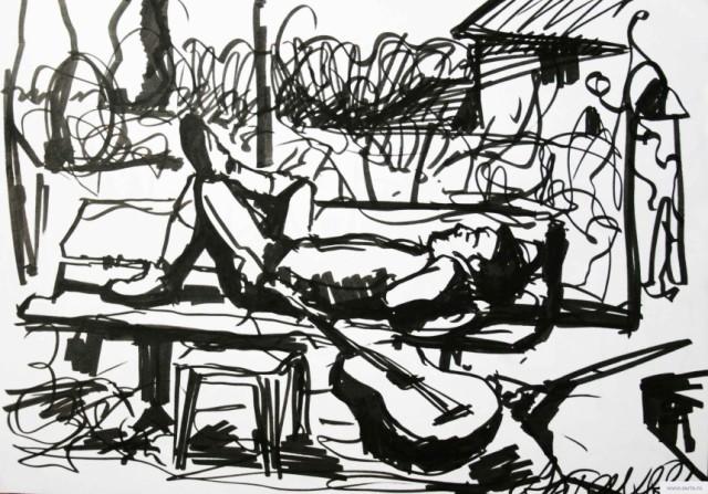 Sleeping on a bench earta.ru drawing / sketch / photo