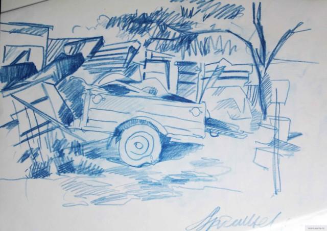 Старый прицеп поселок Машиностроитель рисунок/фото