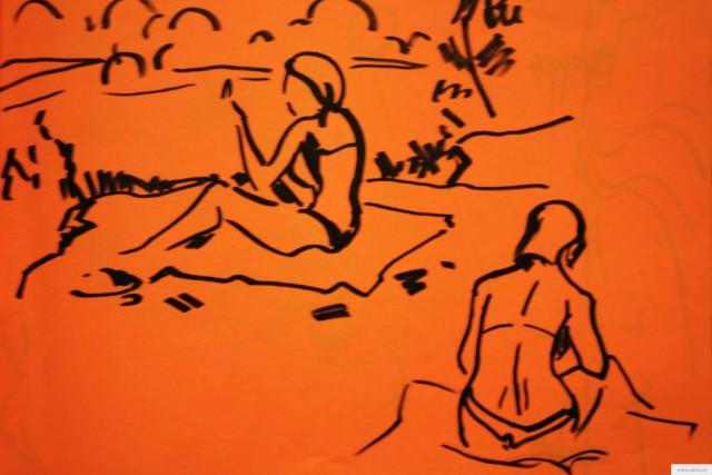 Юные на пляже earta.ru рисунок/набросок/фото