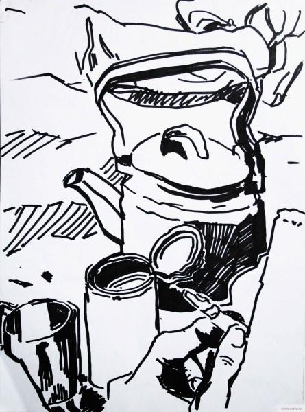 походный чайник рисунок/фото
