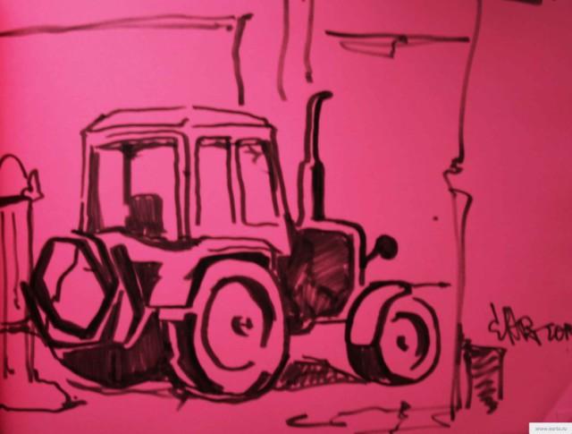 Розовый трактор ррисунок/фото