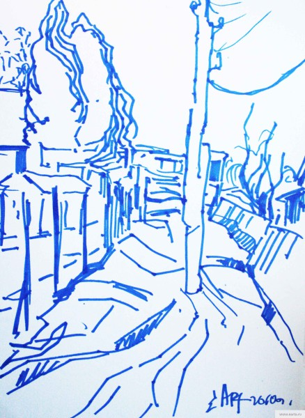 column middle of the road sketch drawing / photo