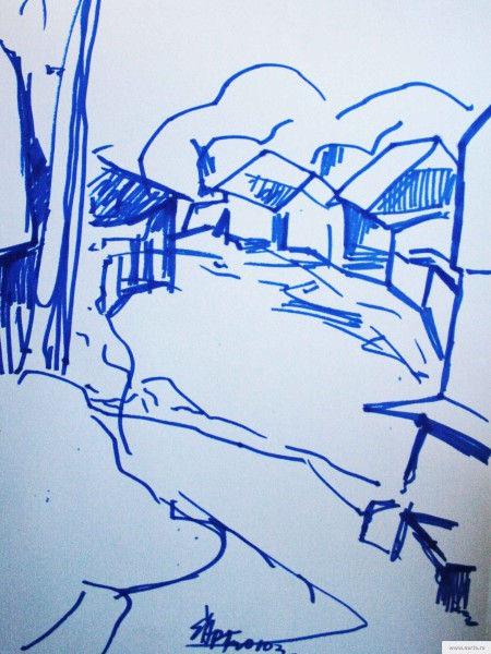 flooding in the village sketch drawing / photo