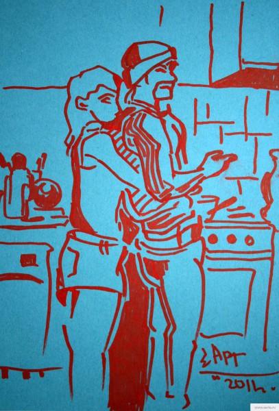 Чибис на кухне играет в любовь) earta.ru рисунок/набросок/фото