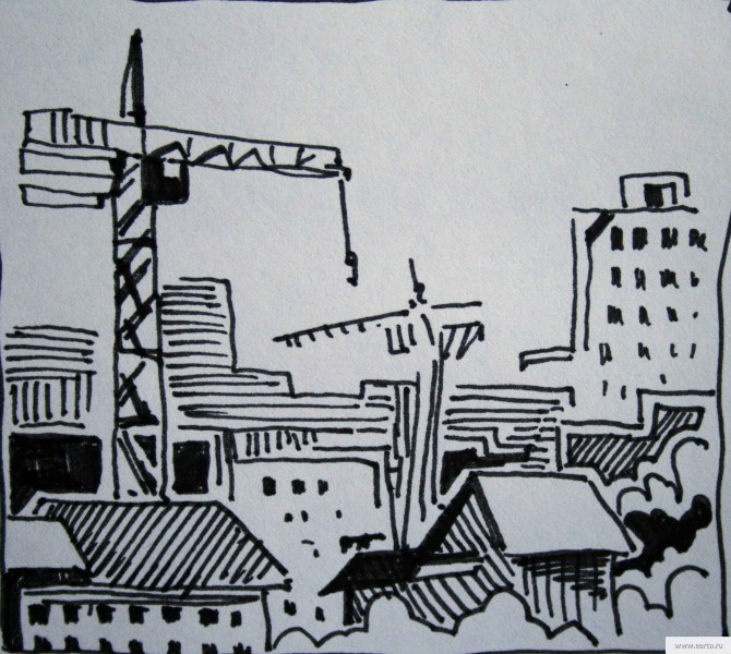 Construction sketch drawing / photo