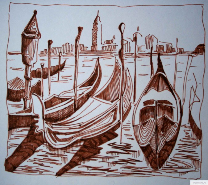 boats in Venice sketch drawing / photo