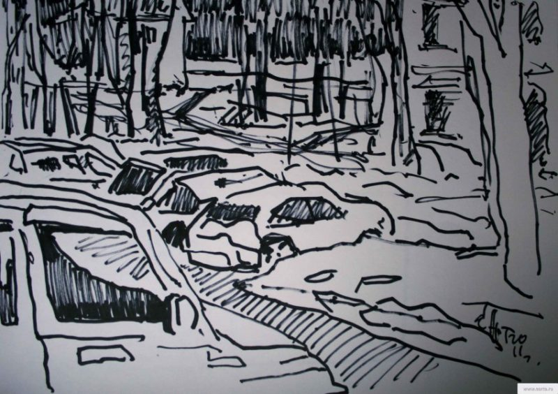 cars in the winter yard sketch drawing / photo
