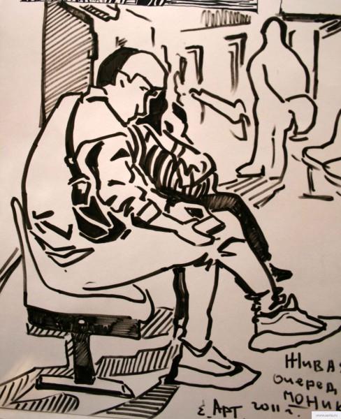 Больничная очередь earta.ru drawing / sketch / photo