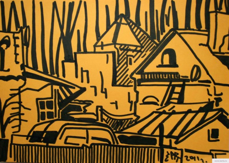 yellow yard sketch drawing / photo