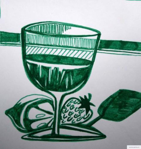 рюмка и фрукты рисунок/фото