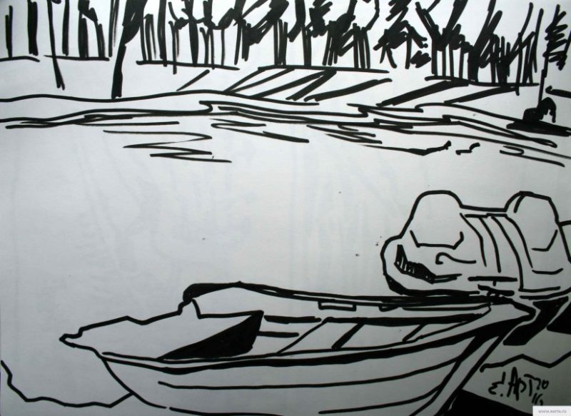 boat on the pond earta.ru drawing / sketch / photo