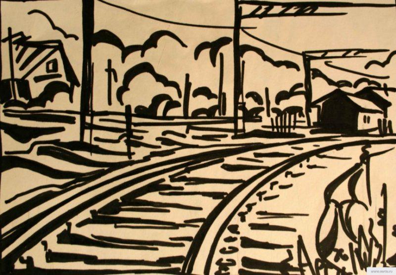 landscape with railway earta.ru drawing / sketch / photo