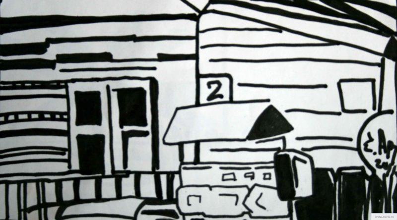 mountain village street Bakunin earta.ru drawing / sketch / photo