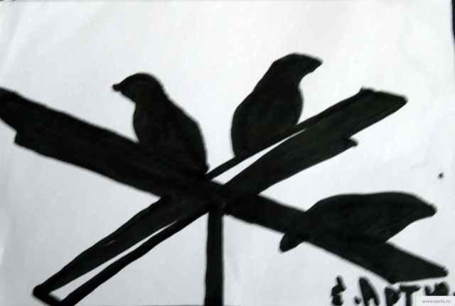 Птицы на антенне рисунок/фото