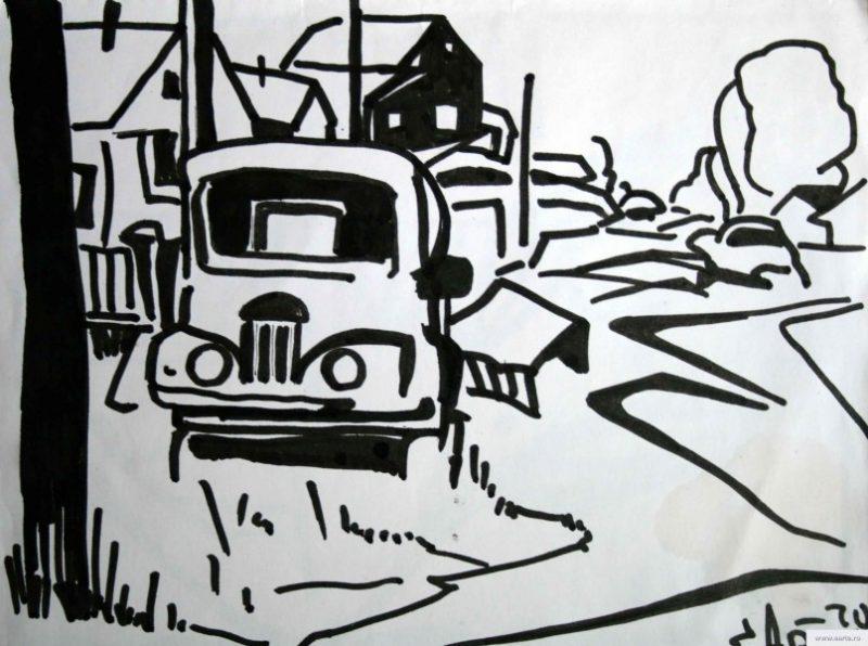 On the street a mountain village school earta.ru drawing / sketch / photo
