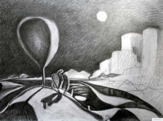 Романтический пейзаж набросок рисунок/фото