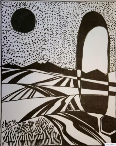 Landscape with a black sun earta.ru drawing / sketch / photo