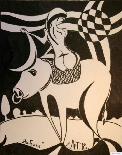 На быке рисунок/фото