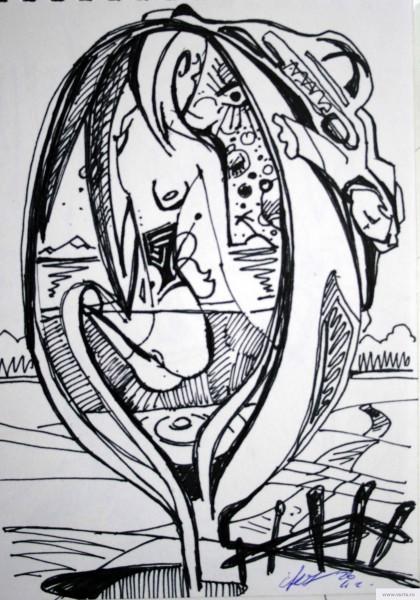 Дама в ложке рисунок/фото