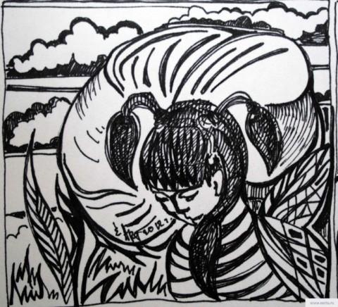 Цветы и пчелы рисунок/фото
