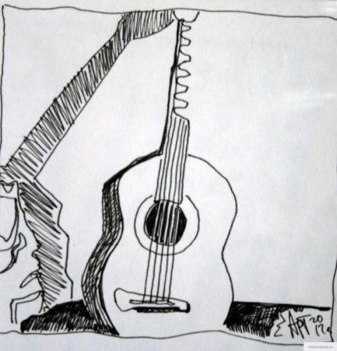 Гитара натюрморт earta.ru рисунок / набросок / фото
