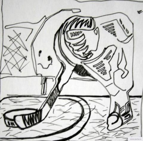 Пьяный с клюшкой рисунок/фото
