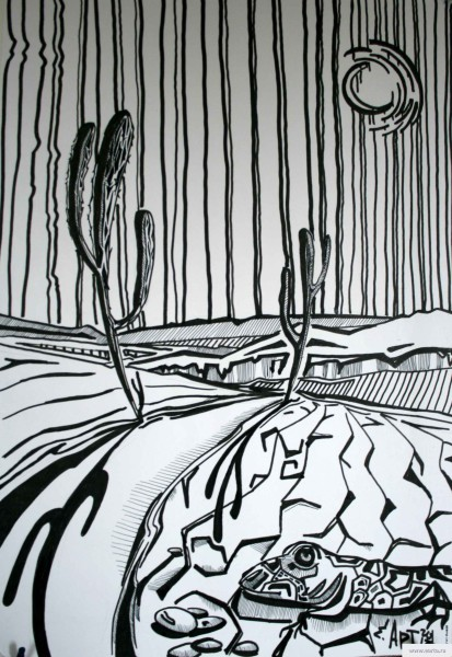 Landscape with cactuses earta.ru drawing / sketch / photo