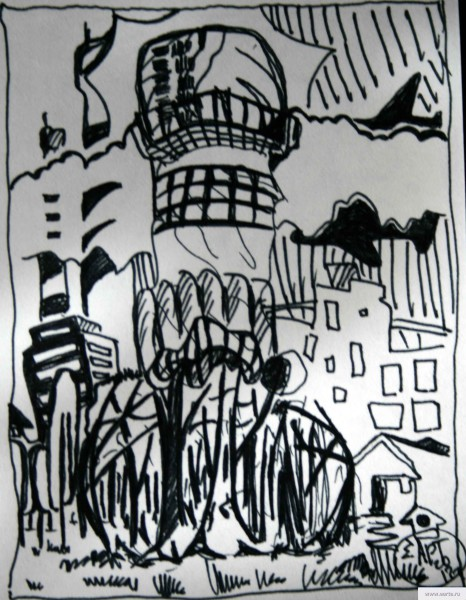 a city with a large chimney earta.ru drawing / sketch / photo