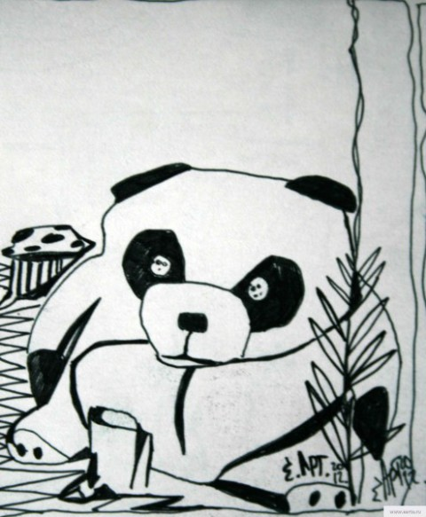 Панда рисунок/фото
