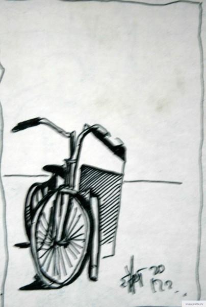 Велосипед и урна рисунок/фото