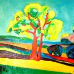 """Landscape with a red oak tree"" painting picture / photo Пейзаж с красным дубом Электростальearta.ru"