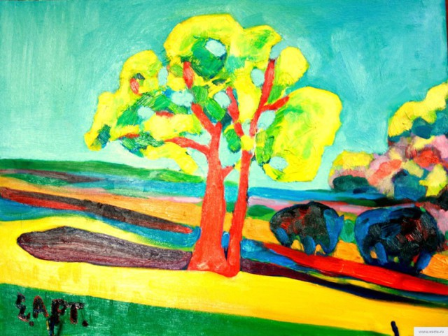 """Landscape with a red oak tree"" painting picture / photo earta.ru"