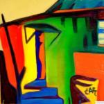"""Orange ghost in an old green house"" painting picture / photo Оранжевый призрак в старом зеленом доме сафоново п. горный earta.ru"