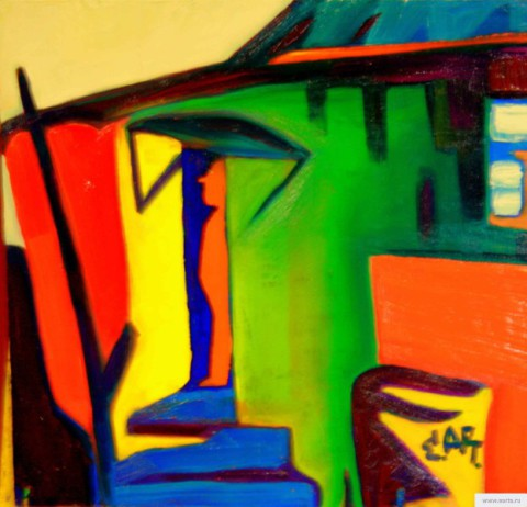 """Orange ghost in an old green house"" painting picture / photo earta.ru"