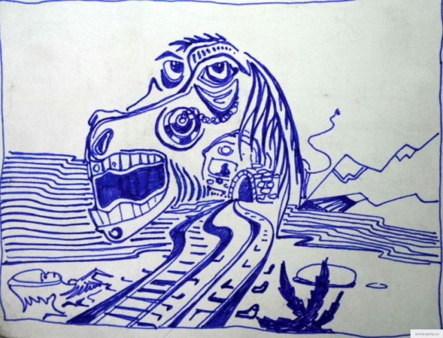 усталая лошадь рисунок/фото