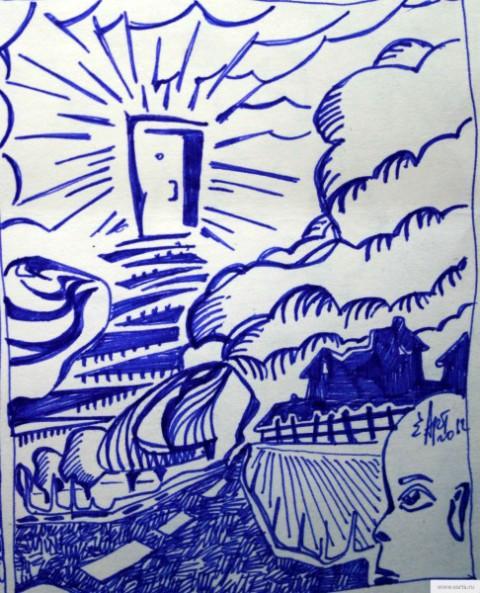Дверь в облаке рисунок/фото