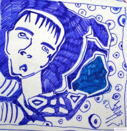 Человек в черной дыре русской дороги earta.ru рисунок / набросок / фото