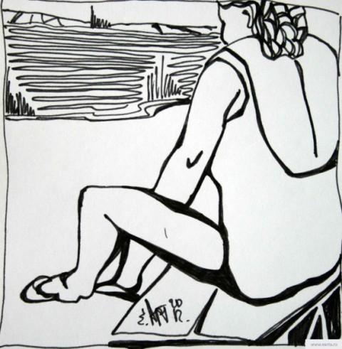 Бабка на пляже earta.ru рисунок / набросок / фото