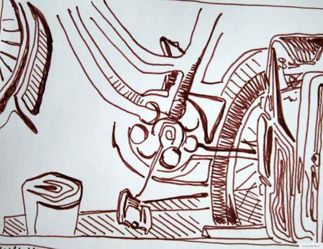 Велосипед на стене натюрморт earta.ru рисунок / набросок / фото