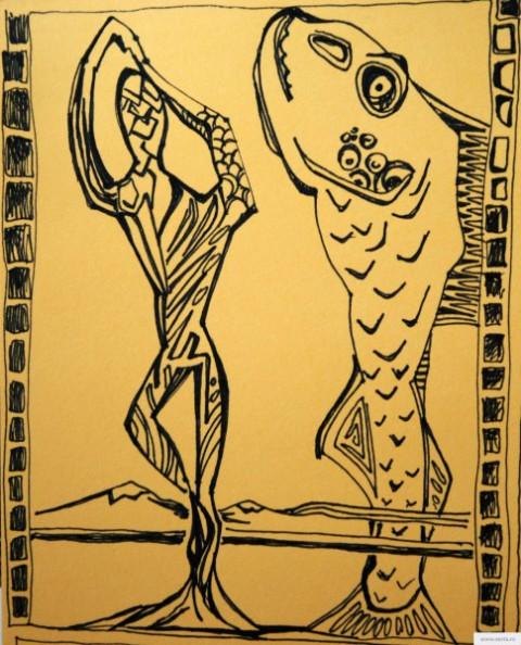 танец с рыбой рисунок/фото