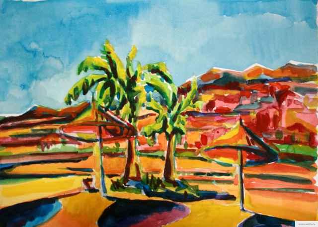 Пальмы на пляже бумага/акварельFaraana heights resot