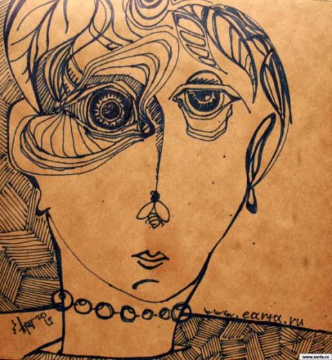 Дама с мушкой earta.ru рисунок / набросок / фото